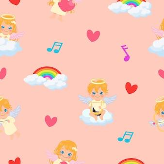Leuke cupido engelen spelen in de lucht en de wolken naadloze patroon. platte cartoon.