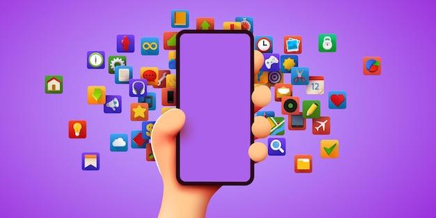Leuke d cartoon hand met mobiele smartphone moderne mockup