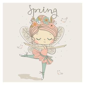 Leuke dansende fee ballerina meisje danser cartoon hand getrokken vectorillustratie