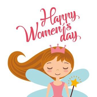 Leuke de feekaart van het meisjesmeisje voor de dag van vrouwen