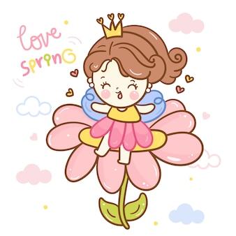 Leuke de feeprinses van het engelenbeeldverhaal op bloem