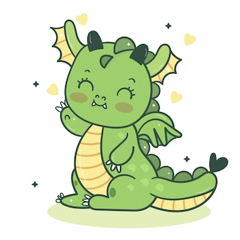 Leuke de groethouding van het draakbeeldverhaal