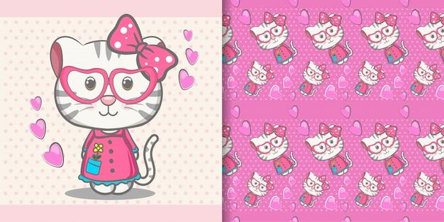 Leuke de groetkaart van het babykatje met patroonreeks