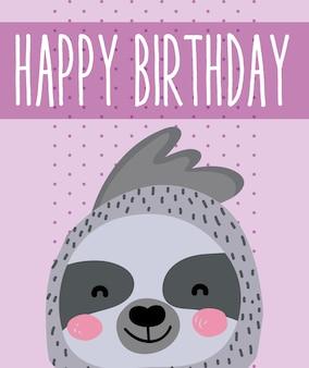 Leuke de kaart leuke cartoon van de luiaard gelukkige verjaardag
