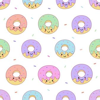 Leuke de zomerdesserts van kawaii leuke pastelkleur donuts met het grappige naadloze patroon van het gezichtenbeeldverhaal