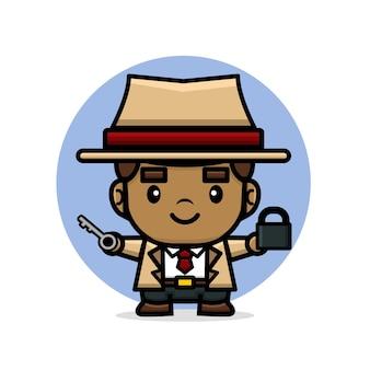 Leuke detective die een sleutel en een hangslot houdt