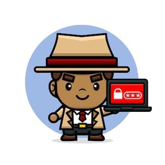 Leuke detective die laptop houdt