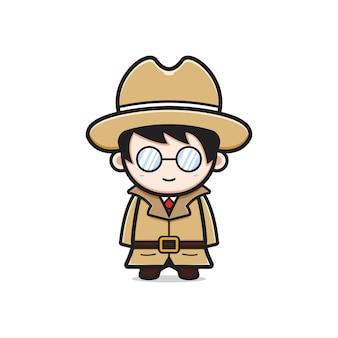 Leuke detective karakter cartoon pictogram illustratie. ontwerp geïsoleerde platte cartoonstijl