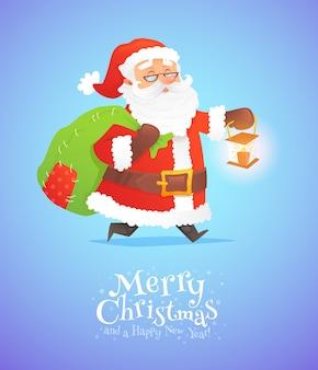 Leuke die kerstman met zak op achtergrond wordt geïsoleerd