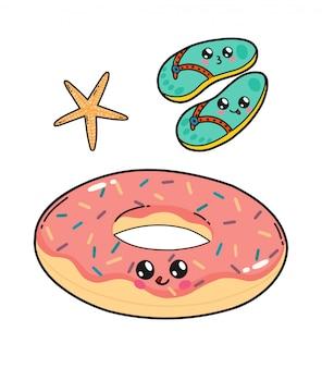 Leuke die vlotterdoughnut en leien van de pool in de stijl van japan worden geplaatst kawaii. happy cartoon tekens met grappige gezichten geïsoleerd