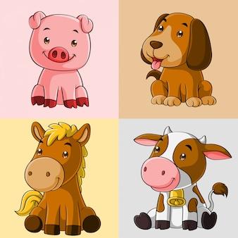 Leuke dieren boerderij cartoon, hand getrokken, set collectie