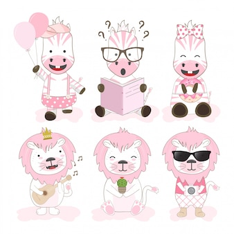 Leuke dieren cartoon tekenset