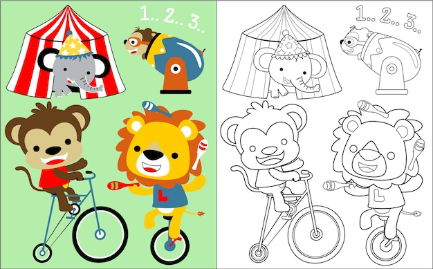 Leuke dieren circus cartoon