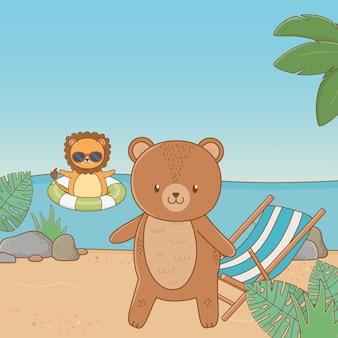Leuke dieren die de zomer van vakanties genieten
