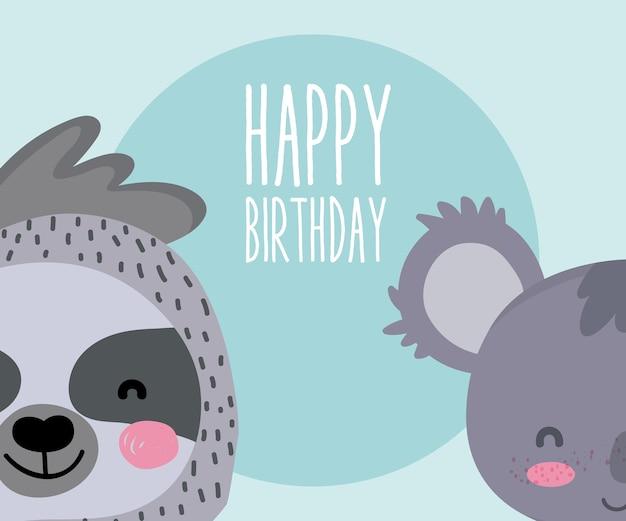 Leuke dieren gelukkige verjaardagskaart leuke cartoon