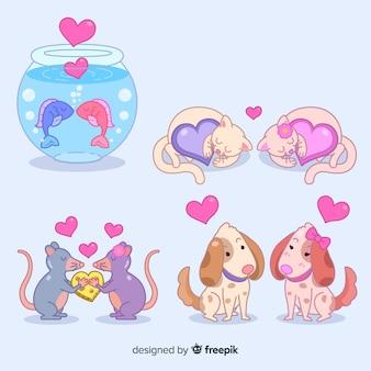 Leuke dieren in geïllustreerde liefde