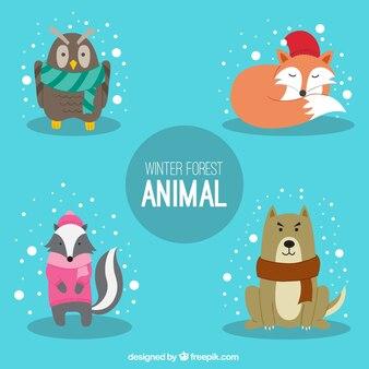Leuke dieren met de winter accessoires