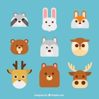 Leuke dieren staan met vlak ontwerp