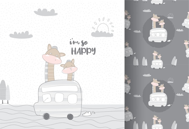 Leuke dierengiraf die door bus naadloos patroon reizen