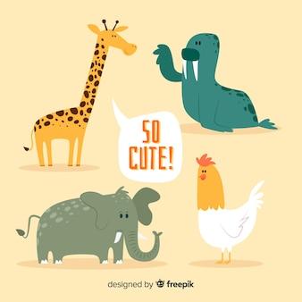 Leuke diereninzameling met oranje achtergrond