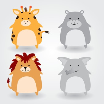 Leuke dierenset inclusief giraf, nijlpaard, leeuw, olifant. vector illustratie.