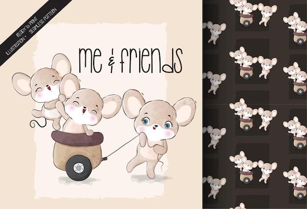 Leuke dierlijke muis die naadloos patroon speelt