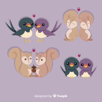 Leuke dierlijke pareninzameling voor valentijnskaartendag