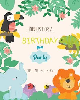 Leuke dierlijke thema verjaardagsfeestje uitnodigingskaart vector.