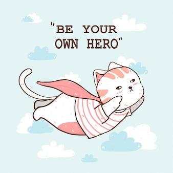 Leuke dikke kat draagt roze cape die op wolkenhemel vliegt, wees eigen superheld