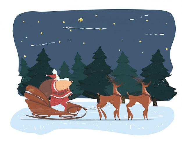 Leuke dikke kerstman met grote buik en zak slee
