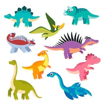 Leuke dino cartoon dinosaurussen baby draken prehistorische monsters jurassic dieren karakters