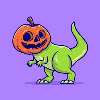 Leuke dino pompoen halloween cartoon illustratie