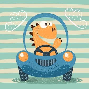 Leuke dino rijdt grappige auto.