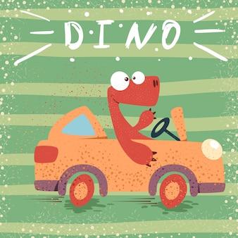 Leuke dino rijdt grappige auto