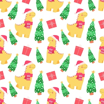 Leuke dinosaurus, cadeautjes voor kerstmis en nieuwjaar. naadloos patroon voor verpakking, stof, behang.