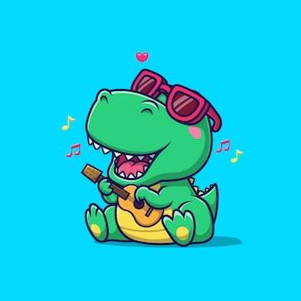 Leuke dinosaurus die en gitaarillustratie zingt spelen