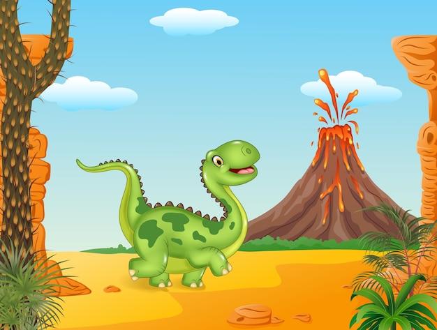 Leuke dinosaurus die op de voorhistorische achtergrond loopt