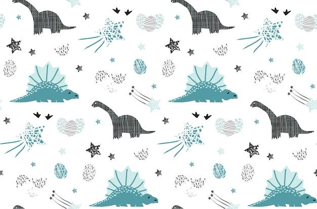 Leuke dinosaurus met ster naadloos patroon