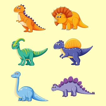 Leuke dinosaurus vector set