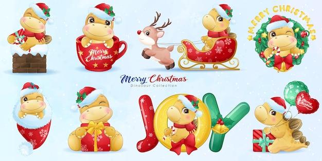 Leuke dinosaurus voor vrolijk kerstfeest met aquarel illustratie set