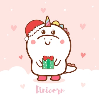 Leuke dinosauruseenhoorn die een gift houdt voor kerstmis.