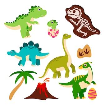 Leuke dinosaurussen cartoon dino babydraak in ei prehistorisch monster skelet palmboom vulkaan