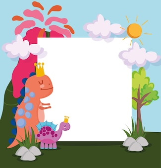 Leuke dinosaurussen en leeg teken