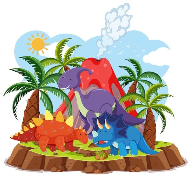 Leuke dinosaurussen met vulkaanuitbarsting die op witte achtergrond wordt geïsoleerd