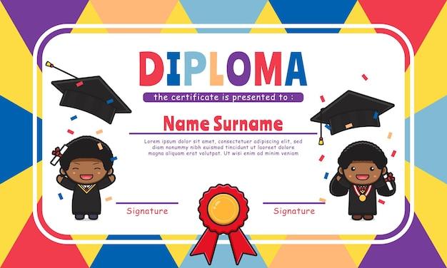 Leuke diploma certificaat kleurrijke achtergrond ontwerp sjabloon pictogram illustratie ontwerp platte cartoon