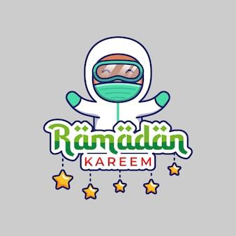 Leuke dokter met ramadan kareem-groet