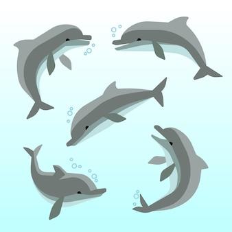 Leuke dolfijnen in verschillende poses. set van dolfijnen in de oceaan, zwemmen grappige dolfijnen illustrati