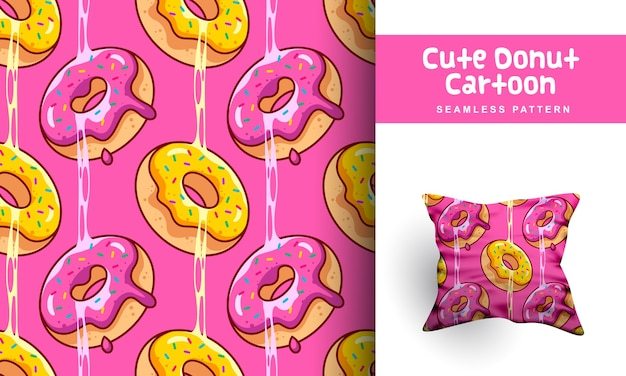 Leuke donut cartoon naadloze patroon