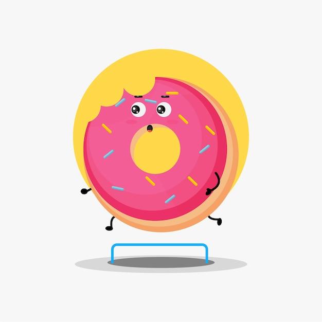 Leuke donut karakter hardloopwedstrijd
