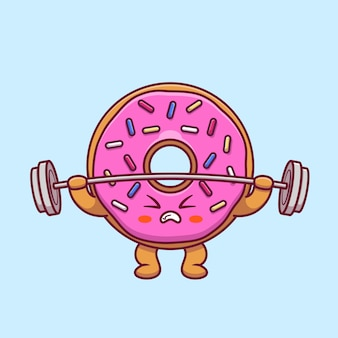 Leuke donut tillen barbell cartoon